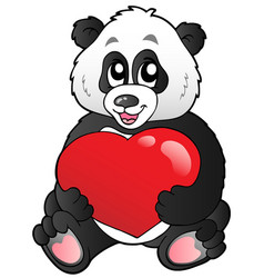 Cartoon panda holding red heart vector