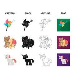 Children toy cartoonblackoutlineflat icons in vector
