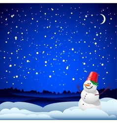 Christmas and New Year card with snowman vector image vector image