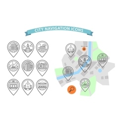 City navigation icons set vector