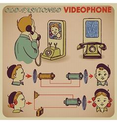 Communication retro phone vector