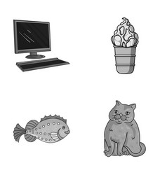 Computer sea and other monochrome icon in cartoon vector