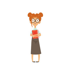 Confused nerd girl standing with book in hands vector