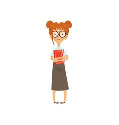 Confused nerd girl standing with book in hands vector