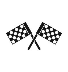 Crossed chequered flags icon simple style vector