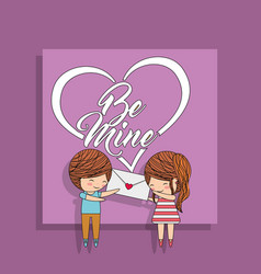 cute couple together holding envelope love message vector image