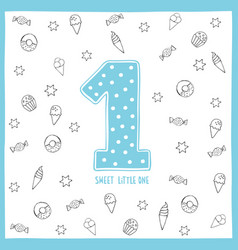 Cute first birthday card blue number one vector
