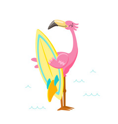 cute pink flamingo with surf board on beach vector image