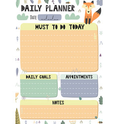 Daily planner with a cute fox vector