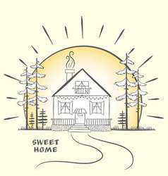 doodle sketch with house at dawn with trees hand vector image