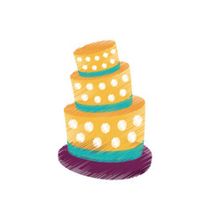 drawing cake dessert decorative vector image