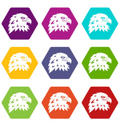 eagle icon set color hexahedron vector image