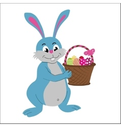 Easter rabbit with basket vector image