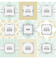 Elegant frame on pattern set vector