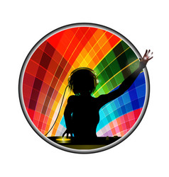 Female dj silhouette in multicoloured border vector
