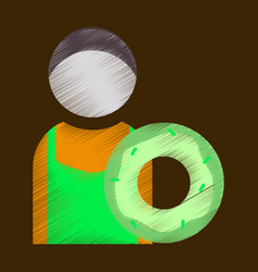 Flat icon in shading style cook donut vector