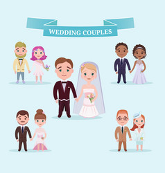 Flat wedding couples romantic set vector