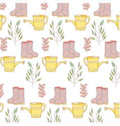 gardener shower sprinkler with boots pattern vector image