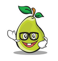 geek face pear character cartoon vector image