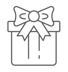 gift box thin line icon package and surprise vector image