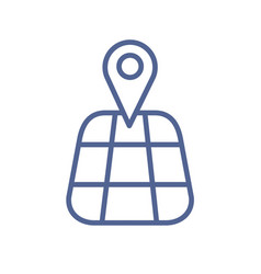 gps navigation icon with simple map and pin vector image