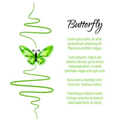 Green diamond butterfly flying up vector image