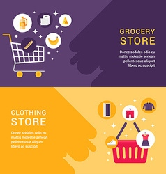 Grocery Store Clothing Store Shopping Concept Set vector