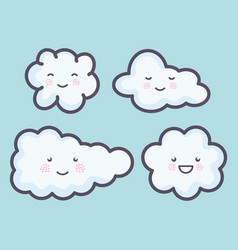 group clouds sky weather kawaii characters vector image