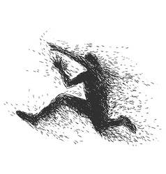 Handmade jumping man vector