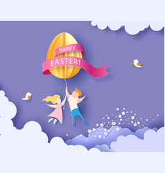happy easter card with kids flowers and egg vector image