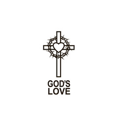 heart crown thorns and cross vector image