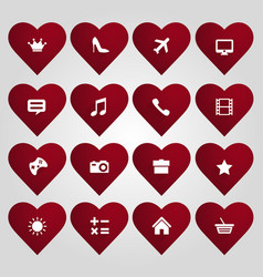 hearts set with icons vector image