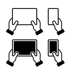 Icons set of hands holding smart phone and tablet vector image