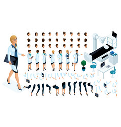 isometric constructor is a beautiful female doctor vector image