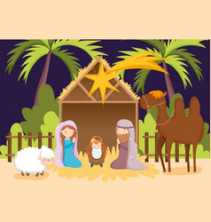 Joseph and mary bajesus camel and sheep manger vector