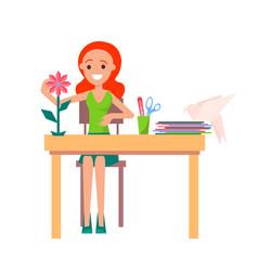 Joyful girl making origami isolated vector
