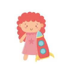 kids toy cute little doll with pink dress and vector image