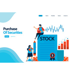 Landing page template purchase securities vector