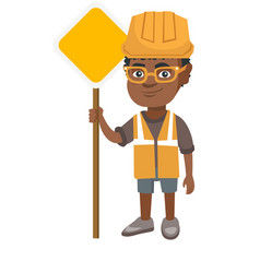 Little african builder boy holding road sign vector
