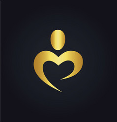love heart abstract gold logo vector image