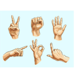 Male hand gesture icon set vector