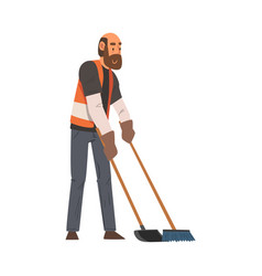 Man janitor sweeping with broom and scoop male vector