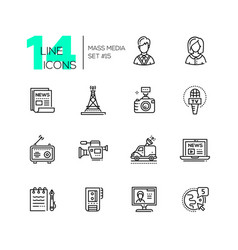 mass media - modern single line icons set vector image