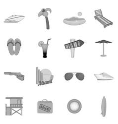 Miami icons set black monochrome style vector