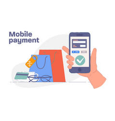 mobile payment hand holding phone vector image