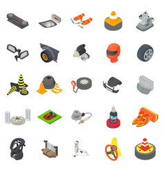 Motoring icons set isometric style vector