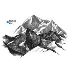 Mountain peaks background vector