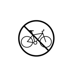 no bicycle line icon bike prohibition sign vector image
