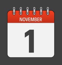 November 1 calendar daily icon vector