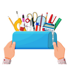 open pencil case with zipper full stationery vector image